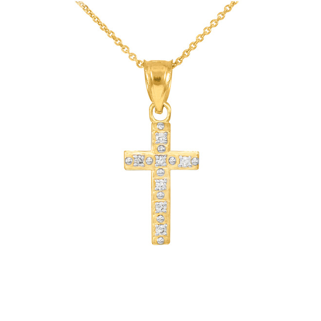 Gold Small Cross Pendant Necklace with Diamonds