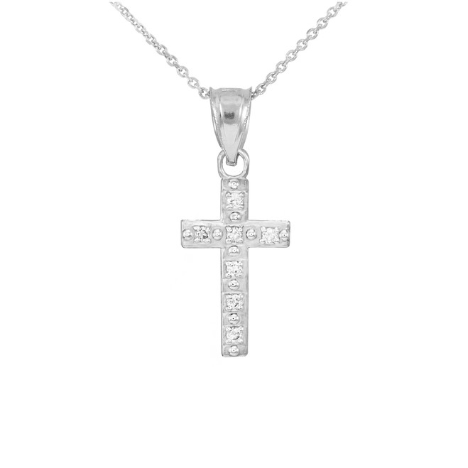 White Gold Small Cross Pendant Necklace with Diamonds