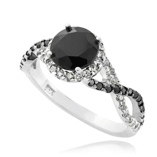 Solid White Gold Black Diamond Infinity Ring