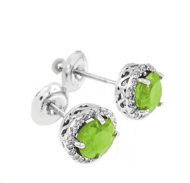 White Gold Diamond Peridot Earrings