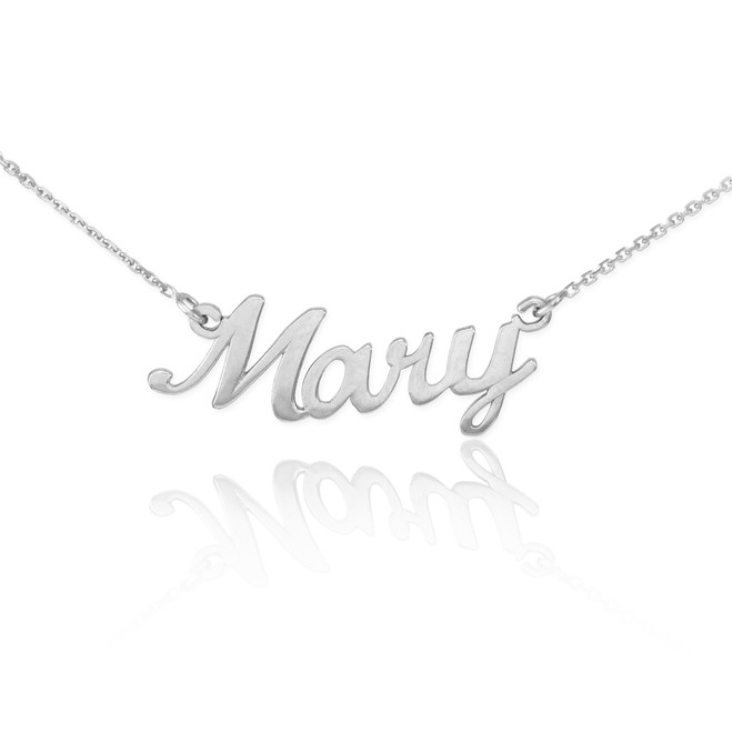 """14k Solid White Gold Name Script Necklace """"Mary"""""""