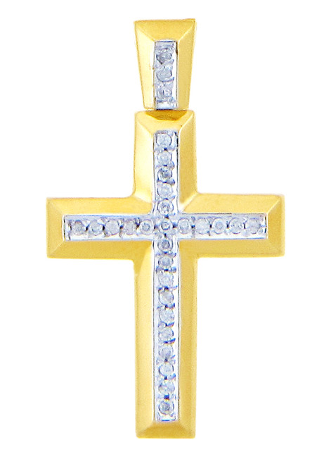 Yellow Gold Cross Diamonds Pendant