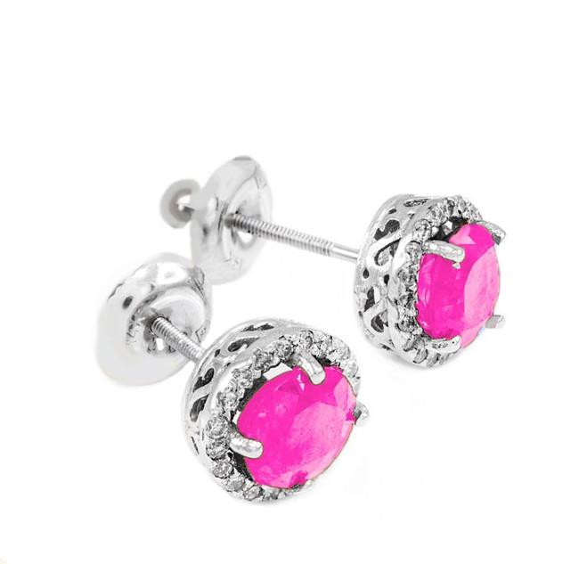 White Gold Diamond Pink Zirconia Earrings