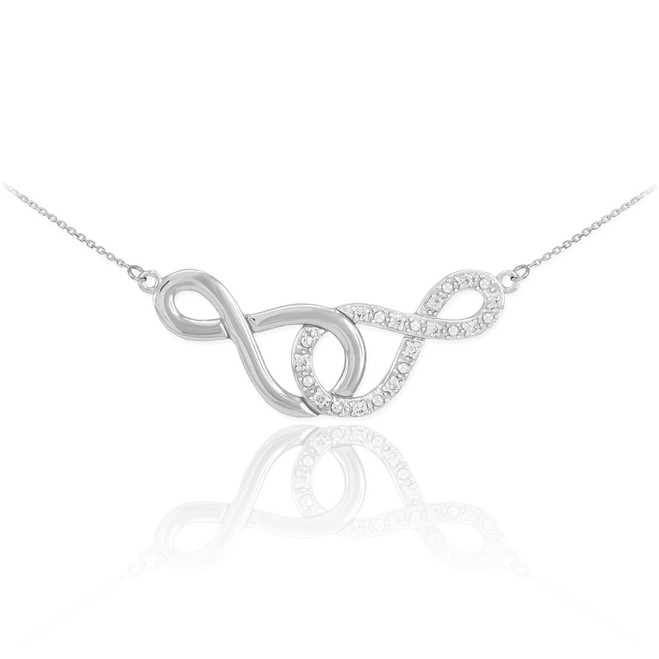 Sterling Silver Double Infinity Necklace with CZ
