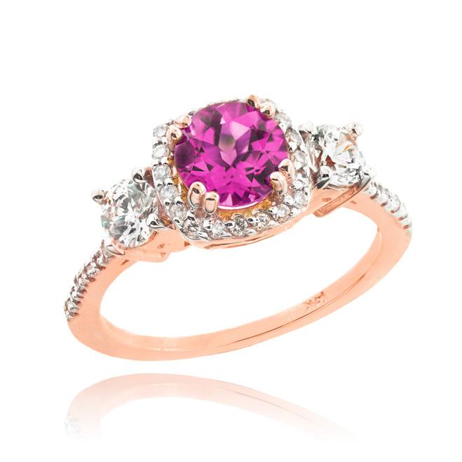 Rose Gold Alexandrite Diamond Engagement Ring