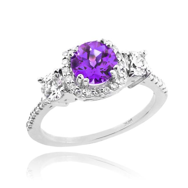 White Gold Amethyst Diamond Engagement Ring