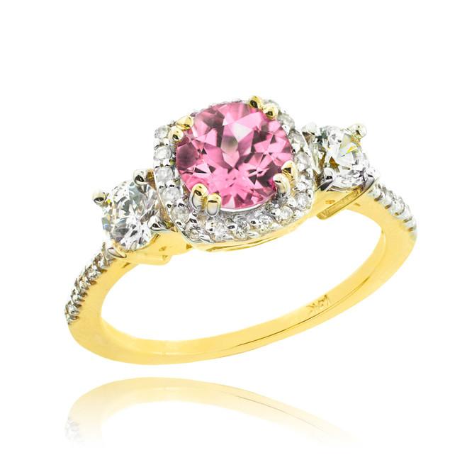 Gold Pink Zirconia Diamond Engagement Ring
