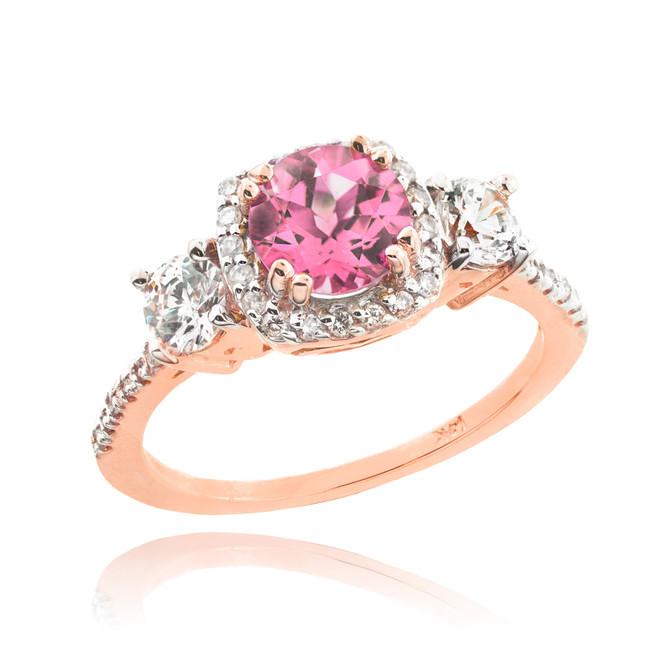 Rose Gold Pink Zirconia Diamond Engagement Ring