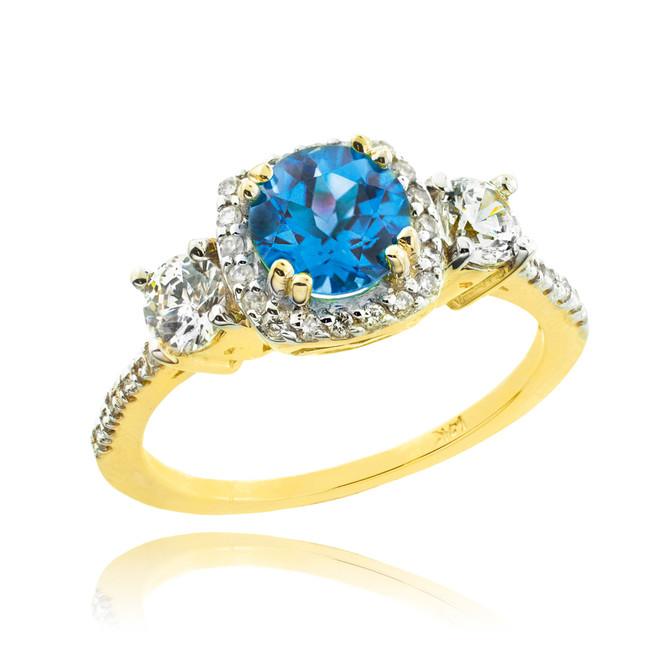 Gold Topaz Diamond Engagement Ring