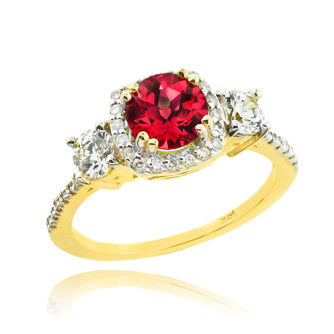 Gold Ruby Diamond Engagement Ring