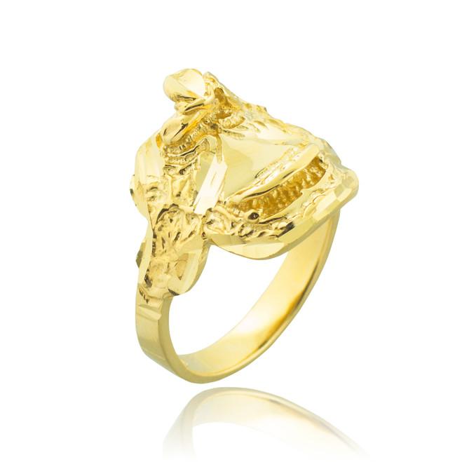 Gold Horse Saddle Ring
