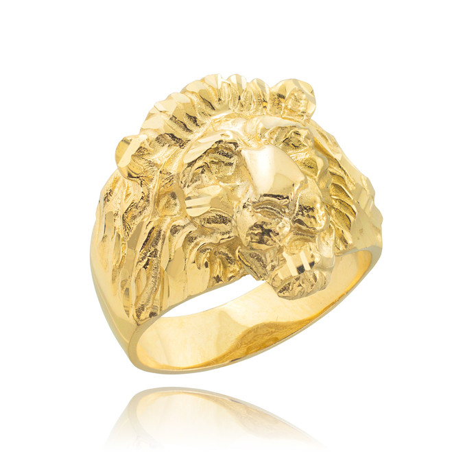Men's Solid Gold Lion Head Ring