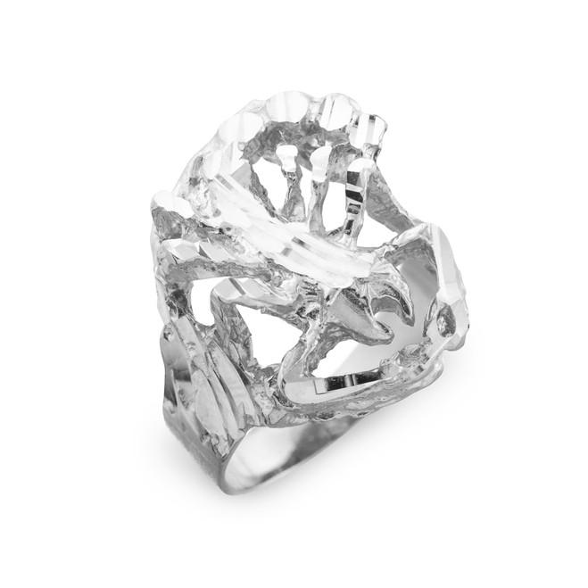 White Gold Scorpion Diamond Cut Ring
