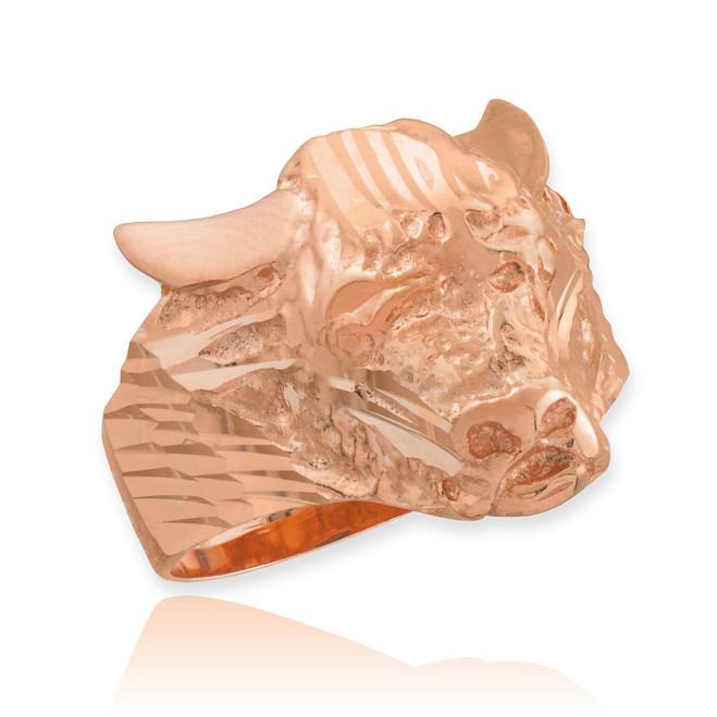 Rose Gold Bull Taurus Ring