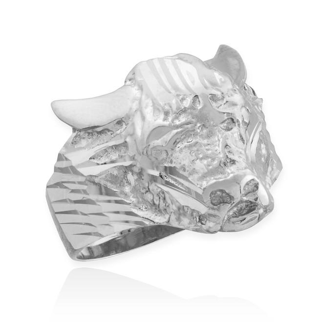 Sterling Silver Bull Taurus Ring
