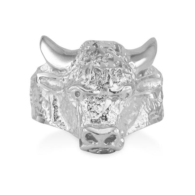 White Gold Bull Taurus Ring (Large)