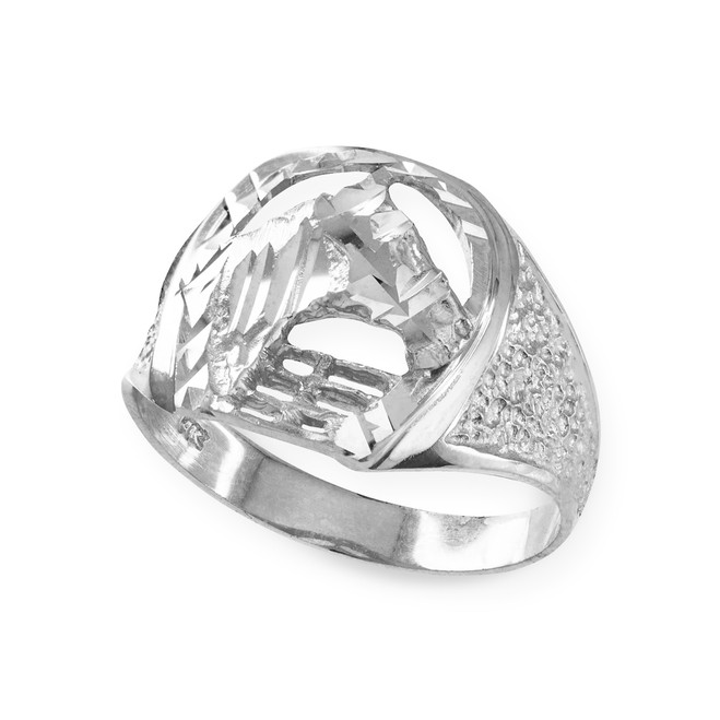 Sterling Silver Horse Head with Horseshoe Ring