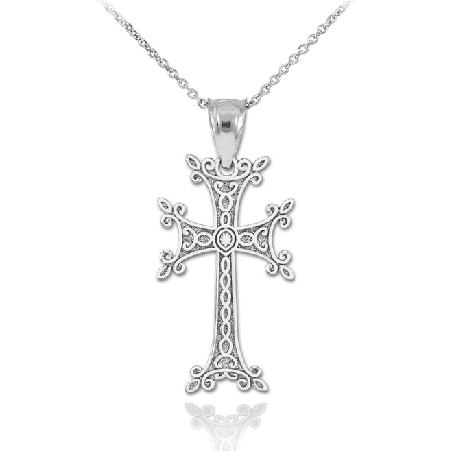 White Gold Armenian Cross Pendant Necklace