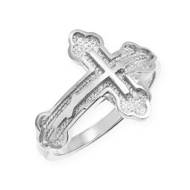 White Gold Eastern Orthodox Cross Ring