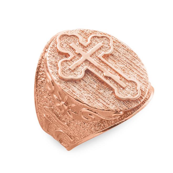 Men's Solid Rose Gold Eastern Orthodox Cross Ring