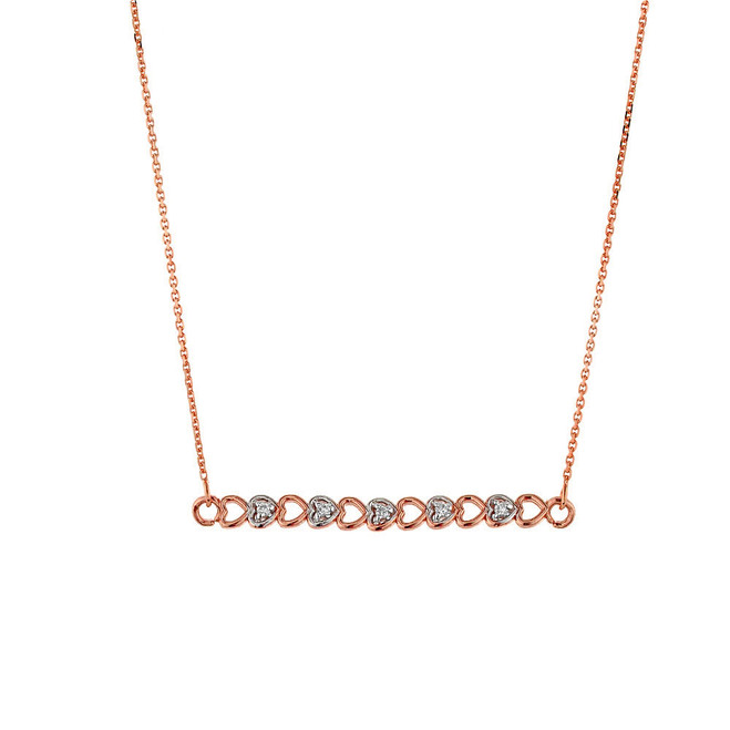 14k Rose Gold Hearts Necklace with Diamonds