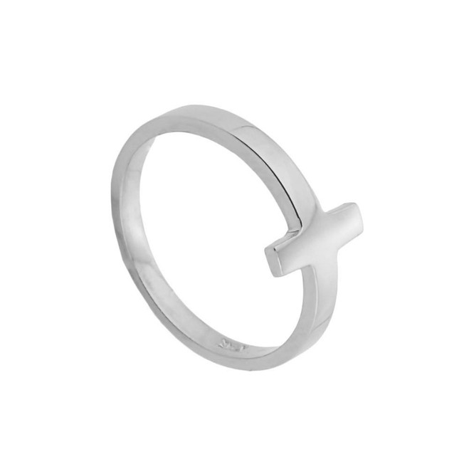 Sterling Silver Sideways Cross Toe Ring