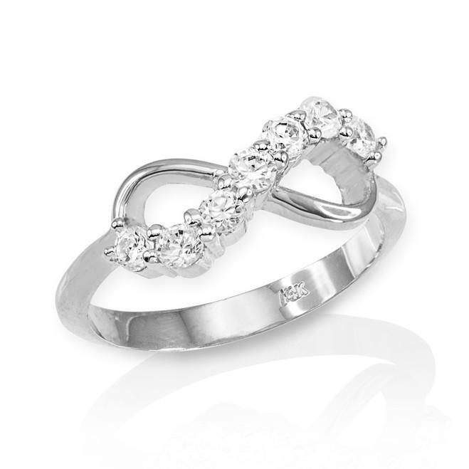 White Gold Infinity CZ Ring