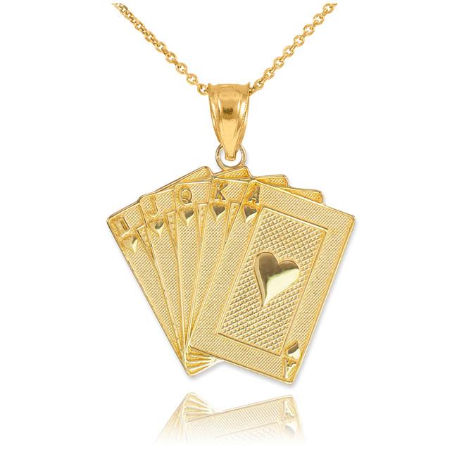 Gold Royal Flush Poker Pendant Necklace
