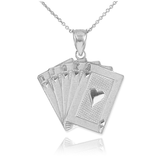 Sterling Silver Royal Flush Poker Pendant Necklace