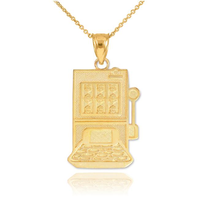 Gold Casino Slot Machine Pendant Necklace