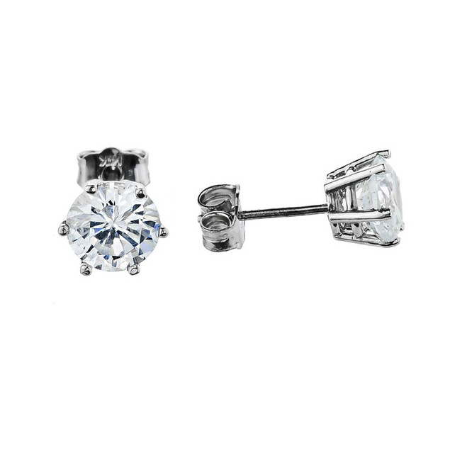2ct Stud Earrings, 14k White Gold Elegant 6 Prongs Cubic Zirconia Stud Earrings with CZ