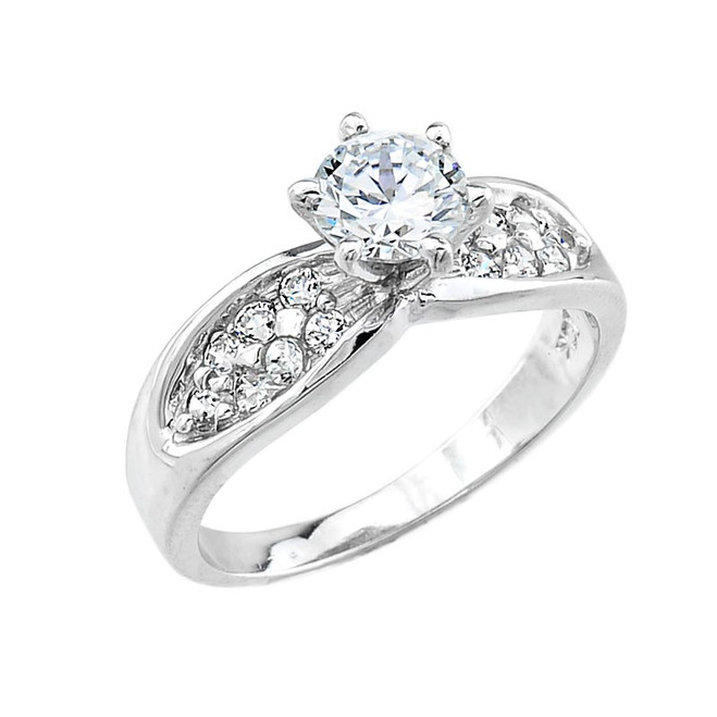 Sterling Silver Micro Pave CZ Solitaire Engagement Ring