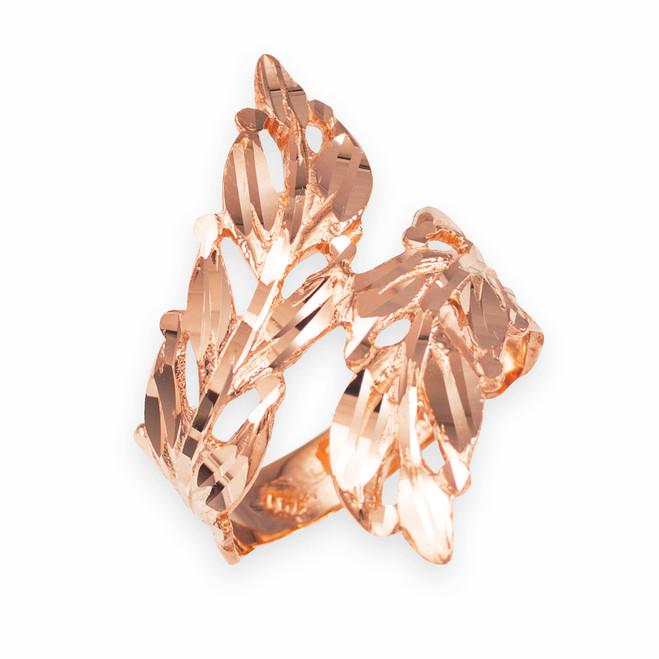 Rose Gold Diamond Cut Laurel Wreath Leaf Ring