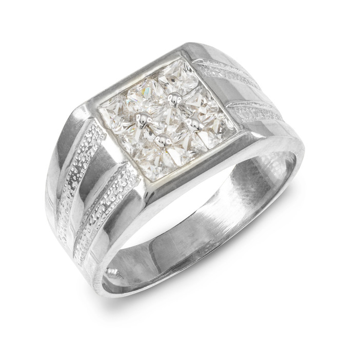 Men's White Gold Square Top CZ Ring