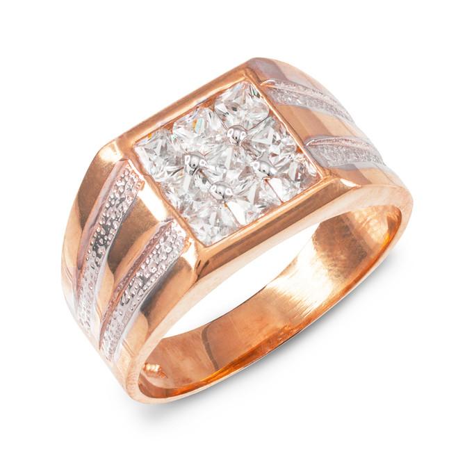Men's Rose Gold Square Top CZ Ring
