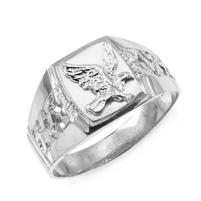 925 sterling silver eagle ring with nugget design on the ring band