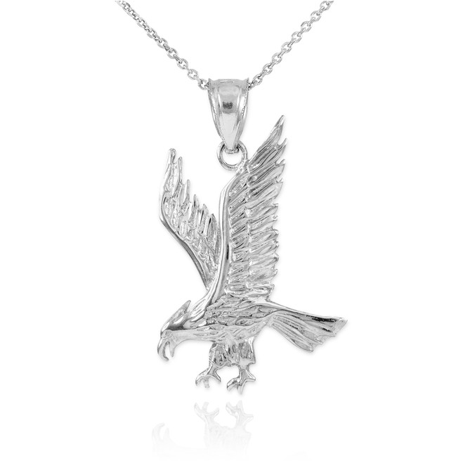 Solid White Gold Eagle Pendant Necklace