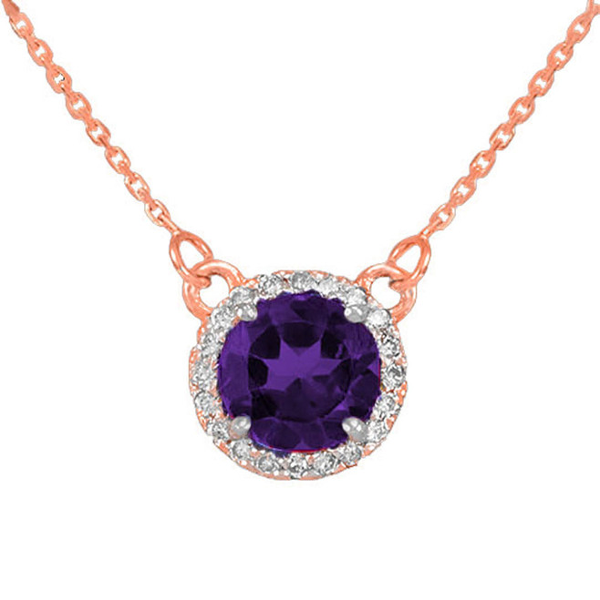14k Rose Gold Diamond Amethyst Necklace