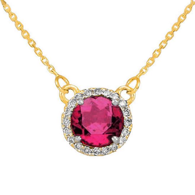 14k Gold Diamond Alexandrite Necklace