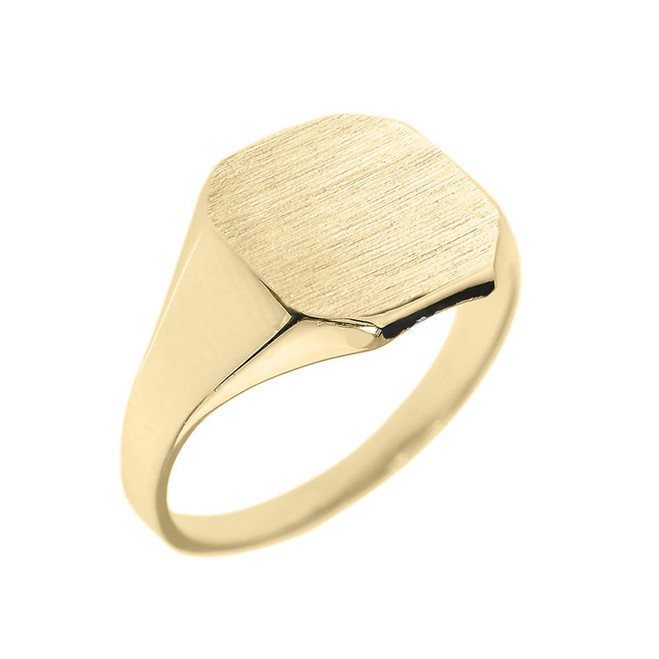 Solid Yellow Gold Cut Corners Engravable Men's Signet Ring