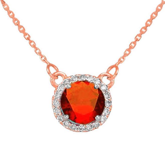 14k Rose Gold Diamond Garnet Necklace