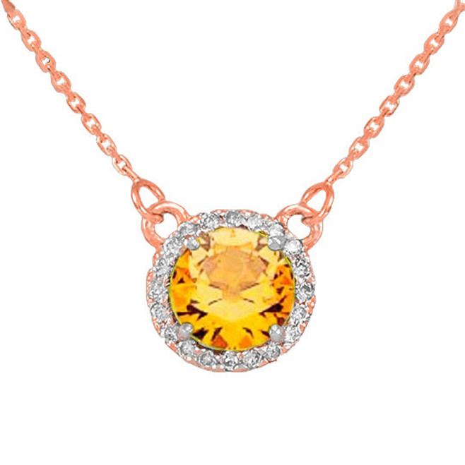 14k Rose Gold Diamond Citrine Necklace