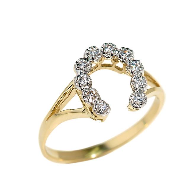 Yellow Gold Cubic Zirconia Horseshoe Ladies Ring