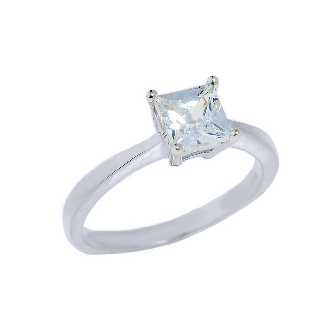 White Gold CZ Princess Cut Engagement Ring