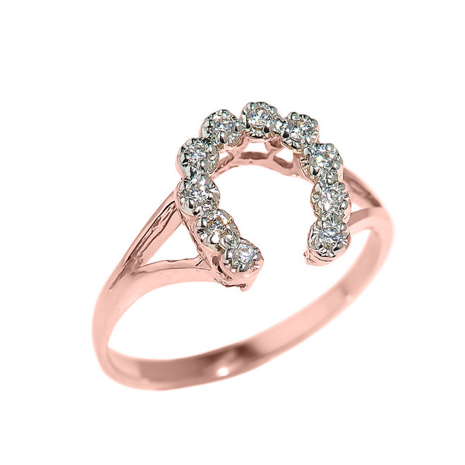 Rose Gold Cubic Zirconia Horseshoe Ladies Ring