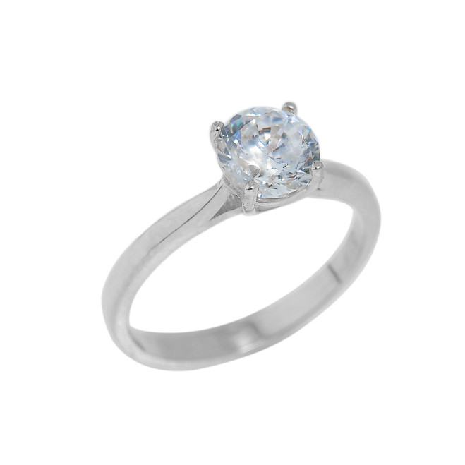 White Gold CZ Round Cut Engagement Ring