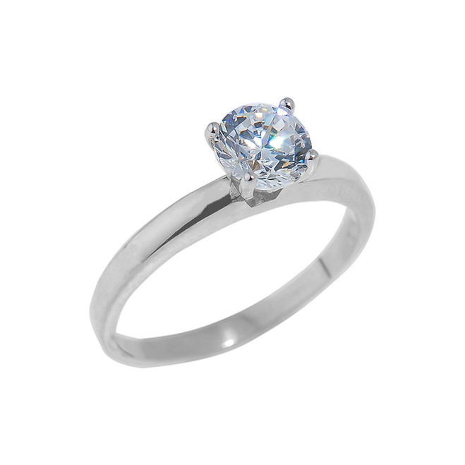White Gold Round Cut CZ Engagement Ring