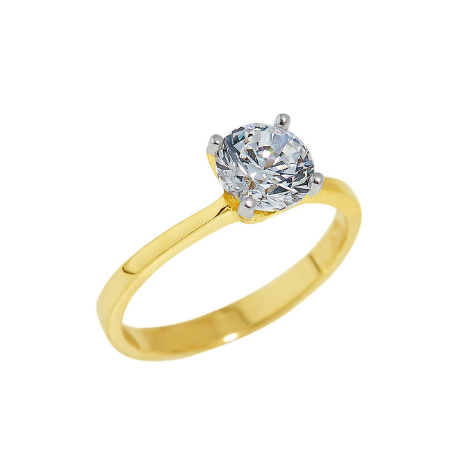 Solid Gold Round Cut CZ Engagement Ring