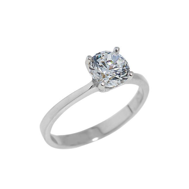 Solid White Gold Round Cut CZ Engagement Ring
