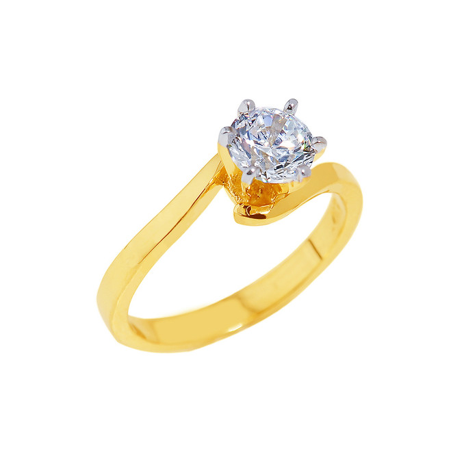 Gold Round Cut Cubic Zirconia Engagement Ring